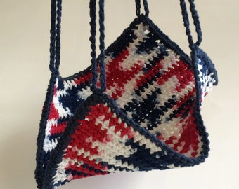 Crochet Multi-Colored Navy, White & Red Small Animal Hammock