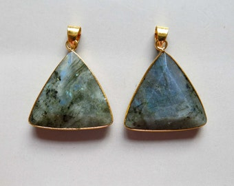 Labradorite Pendant with Electroplated Gold Edge - B1547