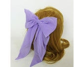 90's Pastel Purple Lilac Giant Bow Clip Purple French Clip Hair Barrette - Fashion Basic Bow Clip Hipster Nineties Grunge Accessory Long Bow