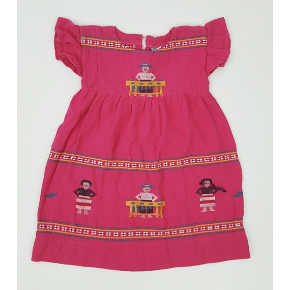 Childrens Embroidered Colorful Mexican Dress Caftan Size 6 - KIDS Vintage Hand Embroidery Dress - Vtg Girl Handmade Dress Mexico Pink Cotton