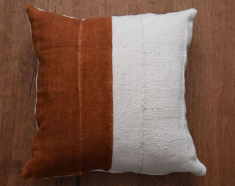 "Authentic African Mudcloth Pillow Cover,  Tribal pillow cover for 20"" x 20"" Pillow Inserts - REF: off white & rust - Made to order"