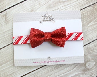 Red Glitter Christmas Headband - Baby Headband - Candy Cane Headband - Holiday Headband - Red Christmas Bow - Newborn Headband