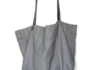 Large shopping tote bag or mouse gray upholstery fabric and black leather handles