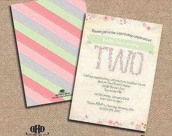 CUSTOM Birthday Party Invitations- Girly Pastel Floral