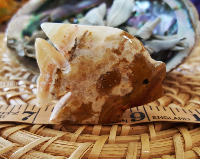Pakistani Onyx Fish ~ One Small Reiki Infused gemstone fish approx 2 inches (E01)