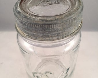 Rustic Ball Glass Jar with Clear Glass Lid and  Rustic Metal Ring