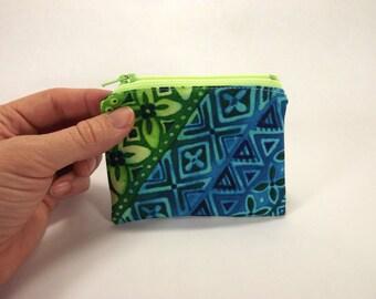 Hawaiian card wallet, hawaiian shirt zipper pouch, tropical coin purse, azure cerulean, sapphire blue, bright green, luau accessory, tiki