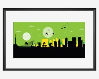 Rotterdam Skyline print, Rotterdam print, Rotterdam art, Rotterdam poster, Rotterdam gift, Star Wars inspired art, Star Wars art, print gift
