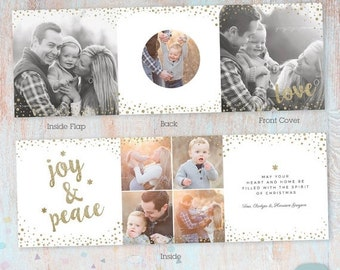 SALE NOW ON Christmas Card Trifold 5x5-  Photoshop Template -Yc004- Instant Download