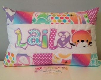 Rainbow Kitty pillow case, 12x18 inches