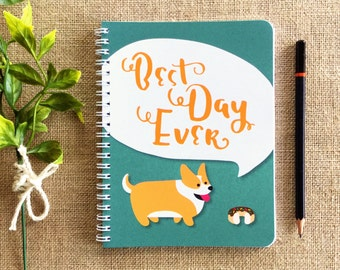 "Corgi ""Best Day Ever"" small spiral notebook"