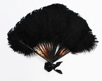 Black Ostrich Feather Fan - Burlesque Showgirl Feather Fan - Vintage 1940s Art Deco Era Fan