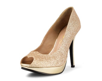 Maleficent Gold Glitter Heels, Gold Heels, Gold Holiday Heels, Gold Bridal Heels, Gold Platform Pumps