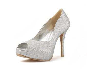 Hollywood Silver Glitter Custom Made Heels, Silver Glitter Peep Toe Pumps, Bespoke Glitter Platform Pumps, Silver Glitter Wedding Heels