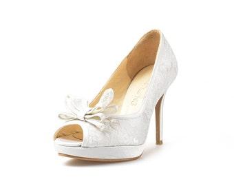 Misty White Custom Made Heels, White Lace Wedding Heels, White Satin Lace Bridal Heels, White Bow Wedding Shoe, Bespoke Wedding Shoe