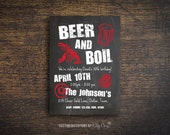 Crawfish Boil Invitation | Beer and Boil | Chalkboard | Printable Digital File