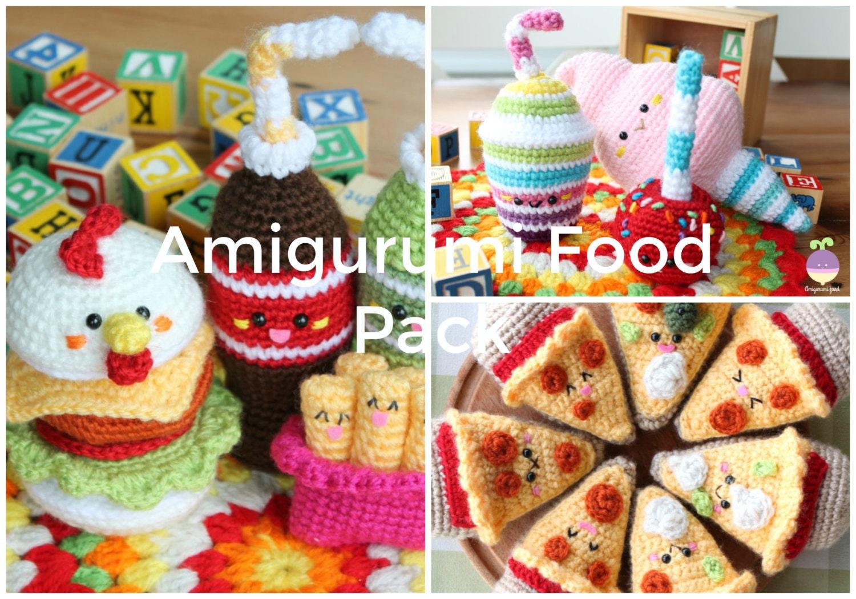 Amigurumi Crochet Food Patterns : Amigurumi Food Crochet Pattern x3 Chicken Burger Soda