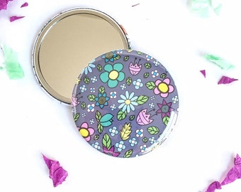 Flower mirror, Pocket mirror, Stocking Stuffer, Stocking Filler, Gift Idea Party Favor, Secret Santa Gif, Christmas Gift