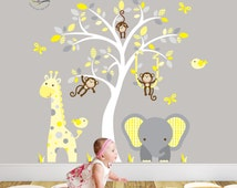 Jungle Decal, Yellow and Grey nursery decor feat. cheeky monkey, a giraffe, a baby elephant a white tree mural. Gender Neutral Wall Stickers