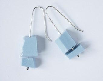 Earrings - Porcelain - light blue