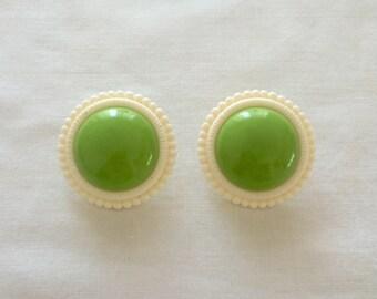 1960's Plastic Earrings ~ Green + White ~ Pierced ~ Mod ~ Vintage 60s Jewelry