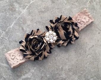 Cream and navy headband, Baby Hair Bow, flower headband, baby headband, shabby chic roses, baby girl headband, hair bow, navy gold headband