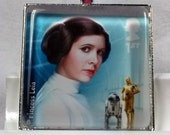 Star Wars Princess Leia Carrie Fisher The Force Awakens UK Glass Tile Pendant Key Ring Genuine Postage Stamp