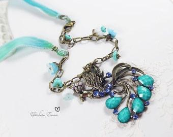 Paradise Peacock Necklace Silk Aqua Turquoise