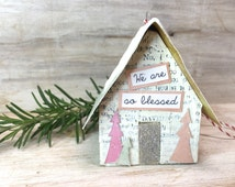 Handmade House Ornament, Putz, style, glitter, tiny house, miniature house