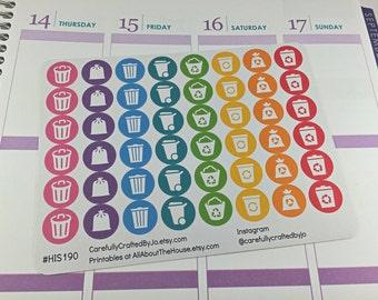 Bin Day Planner Stickers, Rainbow Sticker, Rubbish , Trash, Reminder, Bin, Icon Sticker, Erin Condren, Plum Paper, MAMBI, planner accessory