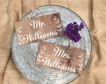 Stained Wood Custom Wedding Chair Signs