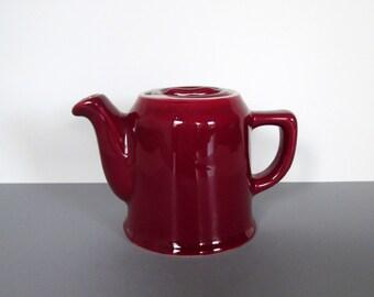 Vintage Chefware Marsala Red Ceramic Teapot Midcentury