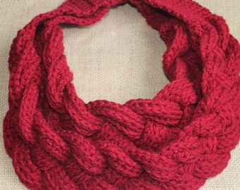 Crochet Braided Cowl, Crocheted Double Braided Scarf with Button Closure, Four Strand Braided Neck Warmer, Winter Four Strand Braided Scarf