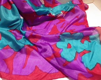 1980s Vintage Silk Scarf Bold Abstract Floral Pattern Red Turquoise Purple Hand Rolled Hem 32""