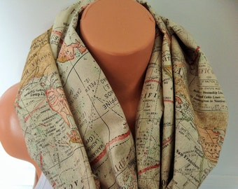 World map scarf infinity scarf soft Cotton Circle loop infinity scarf