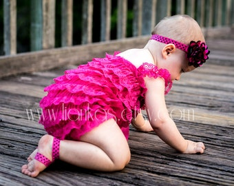 Hot Pink Lace Romper Set Baby Petti Romper Barefoot Sandals and Headband Baby Summer Photo Prop Outfit Baby Rompers Pink & Black Romper Set