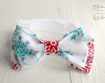 Bow ties for boys- red and teal, Christmas bow tie, snowflake bow tie, bow ties for babies, baby bow tie, boys bow tie, boys bowtie