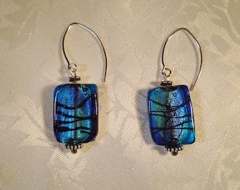 Blue and Black Lampwork Earrings