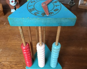 Children's Toy Abacus with Clock on One End