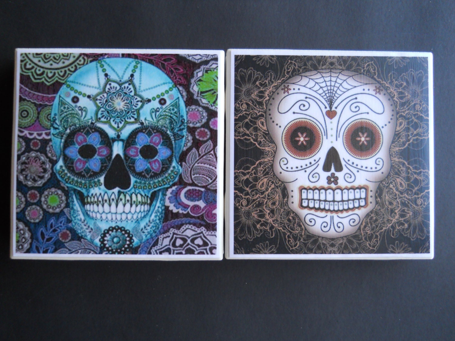 Sugar skulls day of the dead ceramic tile coasters skull sugar skulls day of the dead ceramic tile coasters skull coasters drink dailygadgetfo Choice Image