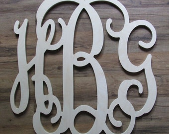 "FREE SHIPPING! 20"" x 20""  Wooden Monogram - Unpainted Letters - Personalized Letters -  Wedding - Wall Decor - Childrens Room Dorm Room"