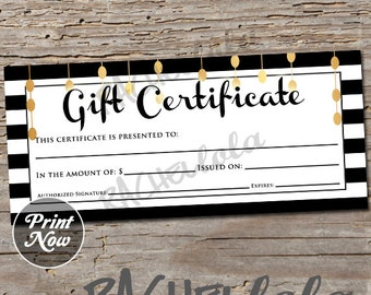 Black, White, and Gold, printable Gift Certificate template, spring, direct sales, photography voucher, gift card, instant digital download