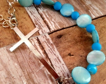 Christian Jewelry For Women, Turquoise Cross Bracelet, Christian Jewelry, Christian Bracelet