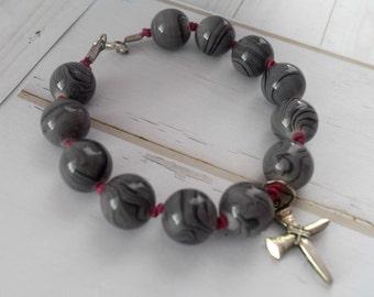 Long Cross Bracelet, Christian Jewelry, Cross Jewelry, Cross Bracelet, Christian Bracelet for Her, Cross Charm Bracelet
