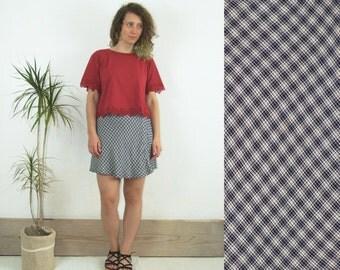 80's vintage owmen's dark blue-white checked high waisted shorts-skirt