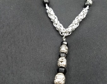 Byzantine Chainmaille with Black and Silver Bead Necklace