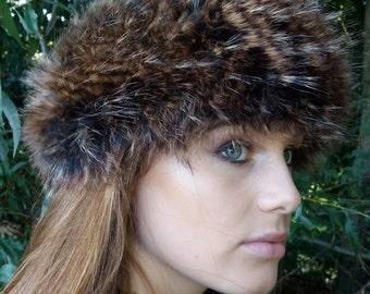 Peacock Faux Fur Headband / Neckwarmer / Earwarmer Handmade in Lancashire England