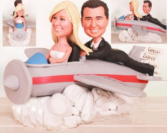Fly me up themed - Personalised wedding cake topper (Free shipping)