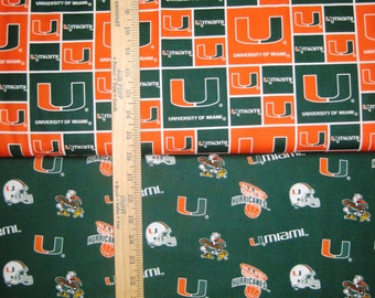 NCAA University of Miami Hurricanes College Logo Cotton Fabric! [Choose Your Cut Size]