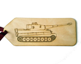 Tank Bookmark Birch wood laser cut